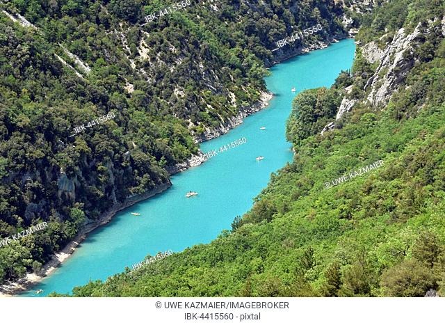 Boats at the mouth of Verdon Gorge, Provence-Alpes-Côte d'Azur, France