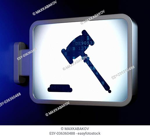 Judge on advertising billboard background Stock Photos and