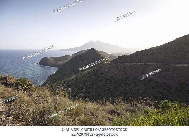 Panorama from Amatista lookout Cabo de Gata nature reserve, Almeria, Spain
