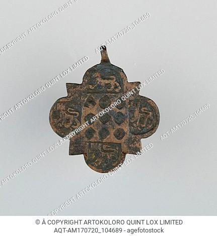 Badge (probably from Horse Harness), 14th century, Spanish, Copper, H. 2 5/8 in. (6.7 cm); W. 2 1/4 in. (5.7 cm); Wt. 1 oz. (28