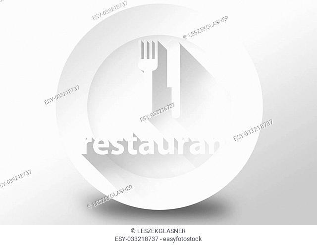 Restaurant concept with plate knife and fork, 3d illustration flat design