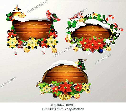 Vector realistic illustration of wooden christmas board set with christmas tree Cardinal sparrow birds and decorations