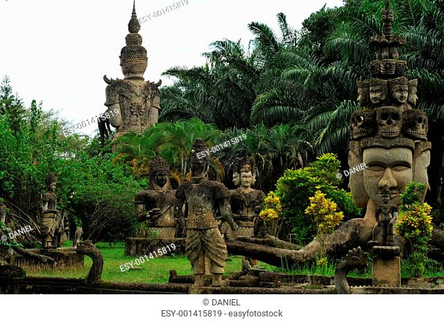 Buddha statues at the beautiful and bizarre buddha park in Vientiane/Laos