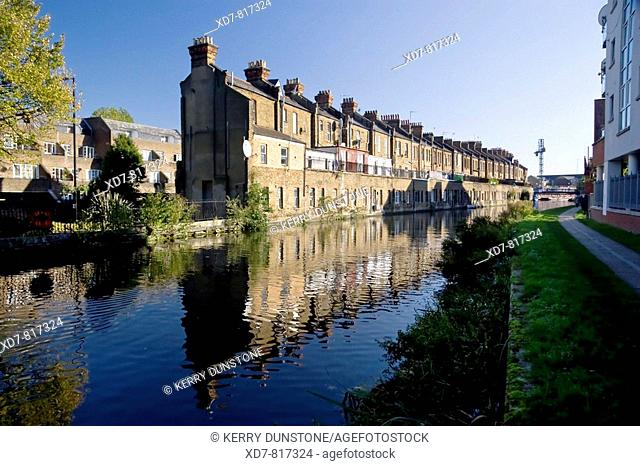 England London West Kilburn Grand Union Canal Paddington Arm with terraced houses on Harrow Road
