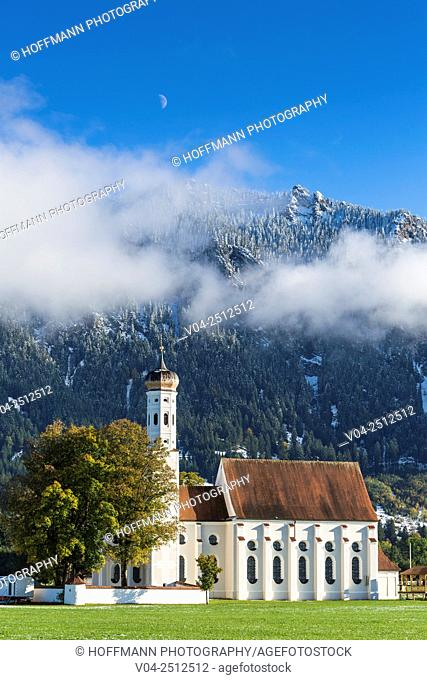 Beautiful Pilgrimage Church St. Coloman near Schwangau, Bavaria, Germany, Europe