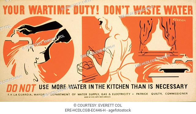 World War II, Poster for a New York City campaign to conserve water, showing a woman cleaning a pan and preparing food. poster by Earl Kerkam, circa 1941-1943