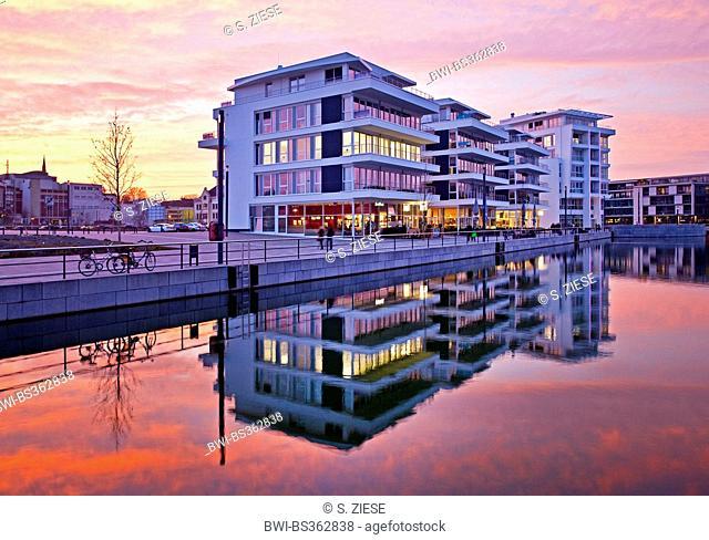 medical center on the Phoenix Lake front in evening light, Germany, North Rhine-Westphalia, Ruhr Area, Dortmund