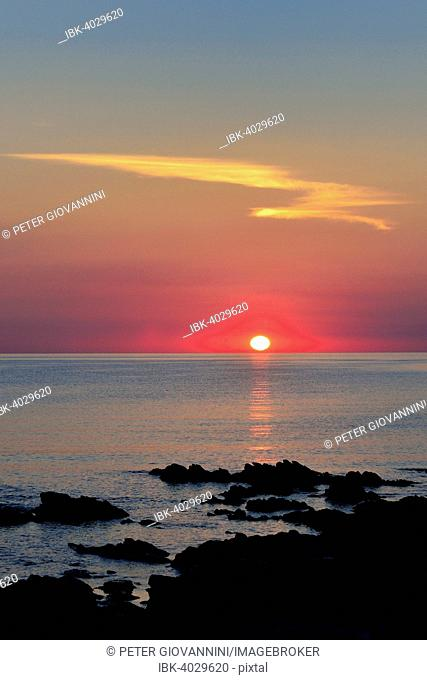 Sunset over the sea, San Teodoro, Province of Olbia-Tempio, Sardinia, Italy