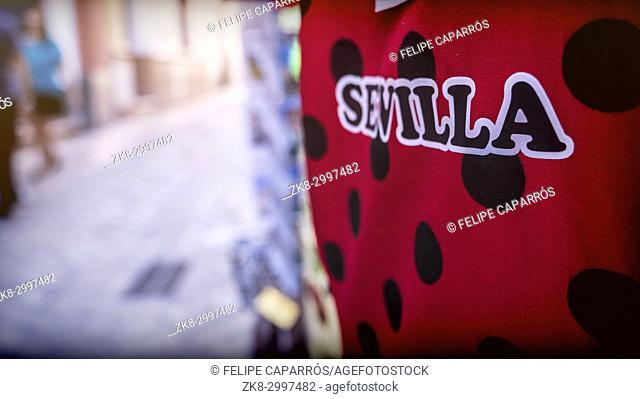 Seville written in Spanish in a red handkerchief with black spots, take in sevilla, Andalusia, Spain