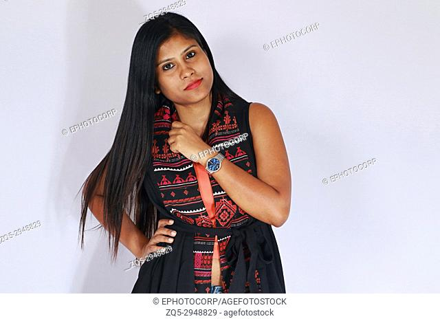 Young girl with long hair posing