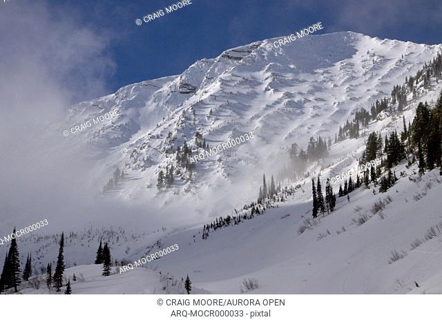Mt. Penrose rises above Rescuse Creek near West Glacier, Montana