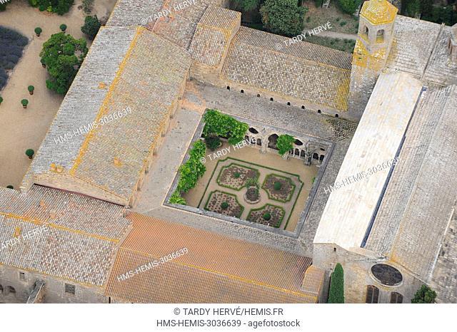 France, Aude, Narbonne, Cistercian abbey of Sainte Marie de Fonfroide (aerial view)