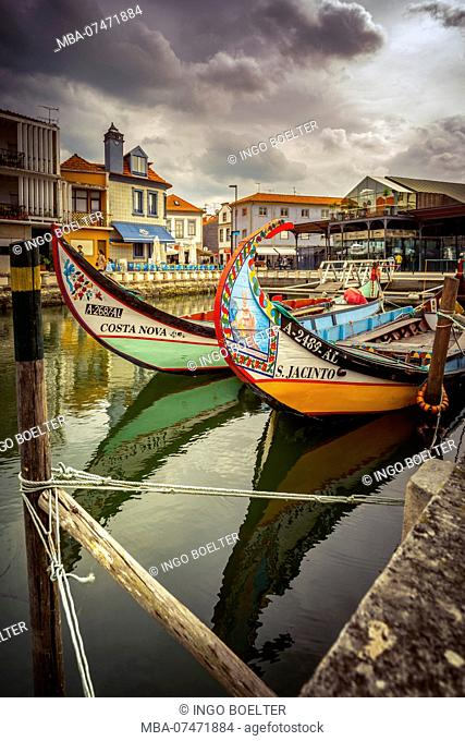 Europe, Portugal, Aveiro, colorful Moliceiro boats in the harbor
