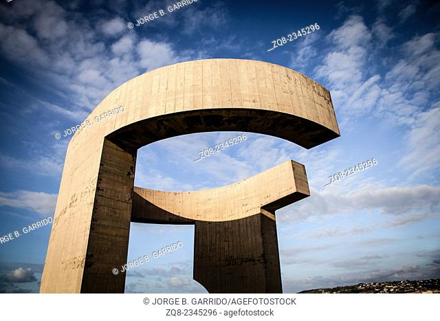 Eulogy of the Horizon by Eduardo Chillida public monument in Gijon city Asturias Spain