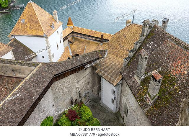 Castle Chillon in Veytaux, near Montreux, Lake Geneva, canton of Vaud, Switzerland