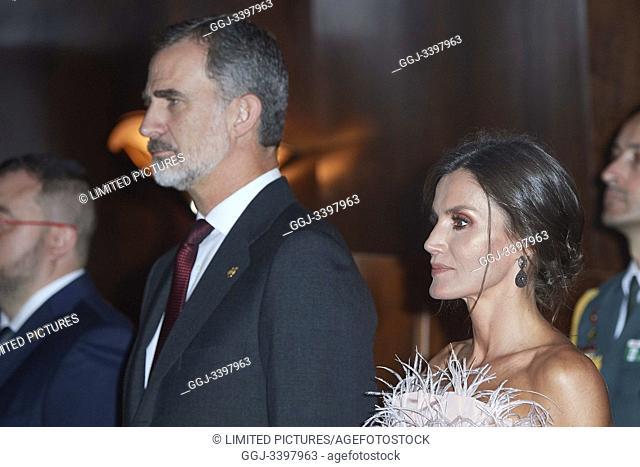 King Felipe VI of Spain, Queen Letizia of Spain attended '28th Musical Week' closing concert at Principe Felipe Auditorium on October 17, 2019 in Oviedo, Spain