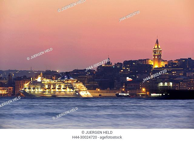 Galata Tower Bosporus Ferry sunset Istanbul Turkey