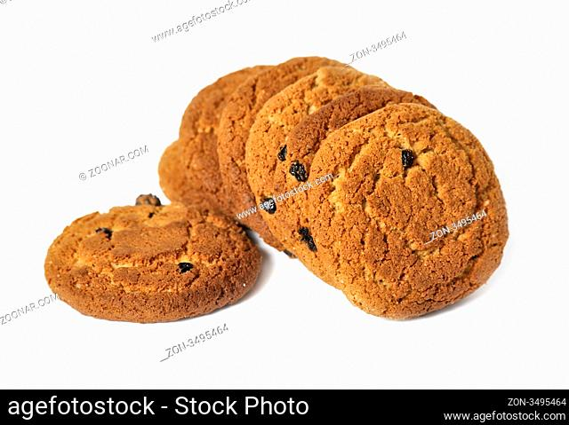 Oatmeal cookies isolated over white