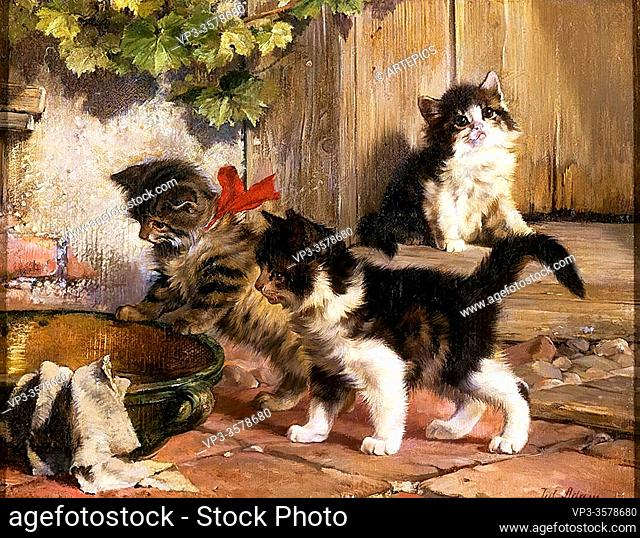 Adam II Julius - the Hungry Kittens - German School - 19th and Early 20th Century