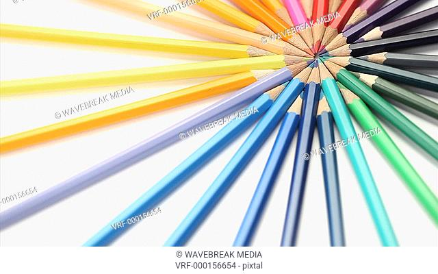 Color pencils rotating