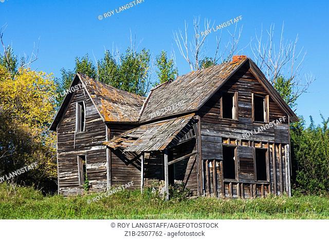 Abandoned farmhouse in a field near Leduc Alberta, Canada
