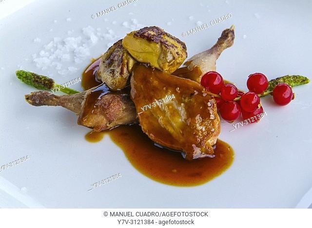 Plato de Muslitos y pechugas de codorniz (quail) con salsa de soja, trigueros y Módena. Restaurante Urrejola, Lezama, Biscay, Basque Country, Spain