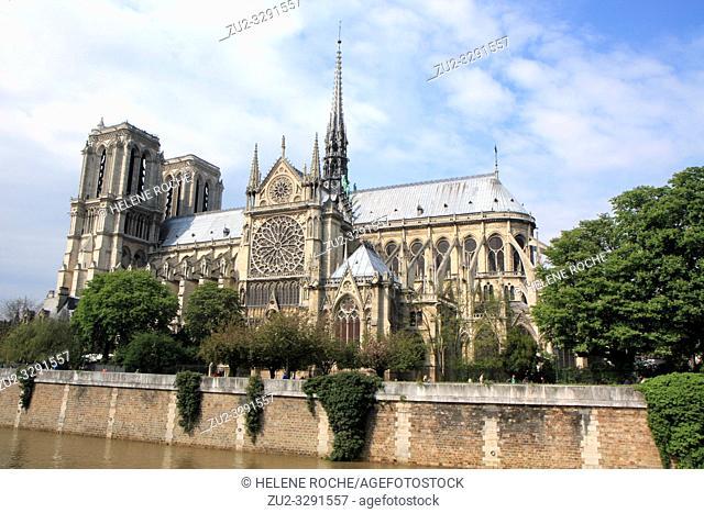 Wide angle view of Notre Dame de paris, France
