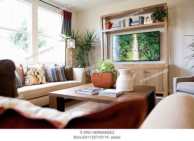 Seating furniture with flat screen television in the living room; San Marcos; California; USA