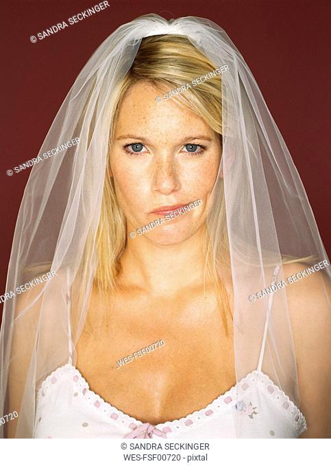 Portrait of bride pouting