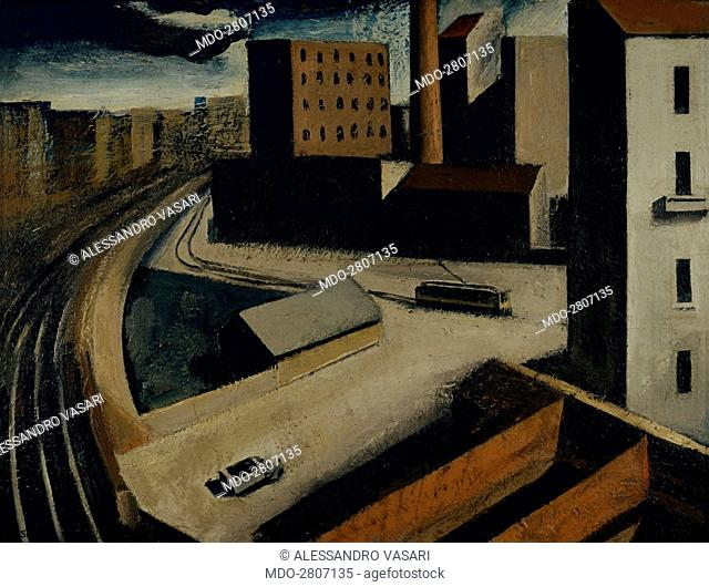 Suburbs (Periferia), by Mario Sironi, 1922, 20th Century, oil on canvas. Italy, Lazio, Rome, National Gallery of Modern and Contemporary Art-GNAM