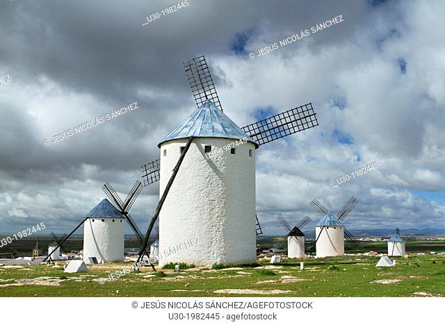 Typical windmills in Campo de Criptana village, in the Route of Don Qiuijote, Ciudad Real province, Castilla-La Mancha, Spain