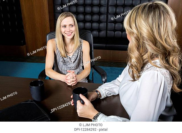 Two professional business women meeting in a boardroom; St. Albert, Alberta, Canada