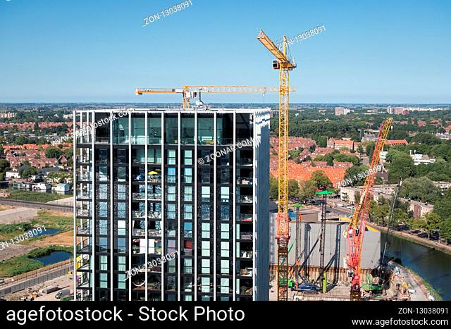 Aerial view construction site new apartment building in Amsterdam, the Netherlands