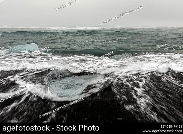 Iceberg on Diamond beach at Vatnajokull Glacier Jokulsarlon Iceland