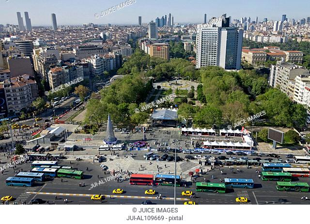 View of Taksim Park and Levent financial district as seen from The Marmara Hotel on Taksim Square, Istanbul, Turkey