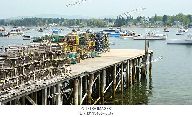 Lobster traps on a dock Maine