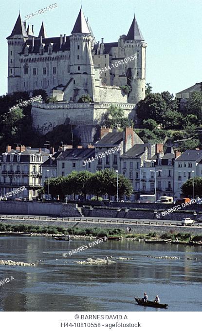 castle, France, Europe, Maine et Loire, Loire Valley, old town, river, Saumur, town