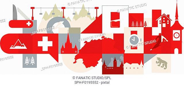 Illustration of tourist attractions in Switzerland