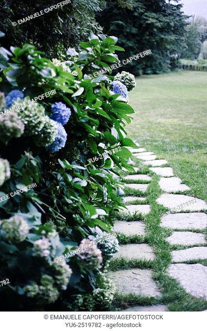 Path in the garden of the villa on Lake Maggiore, Italy