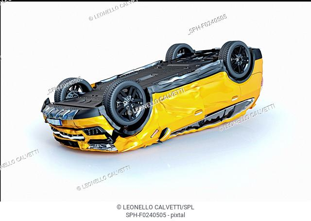 Single car accident. Yellow sedan car upside down heavily damaged all around. Isolated on white background. Perspective view