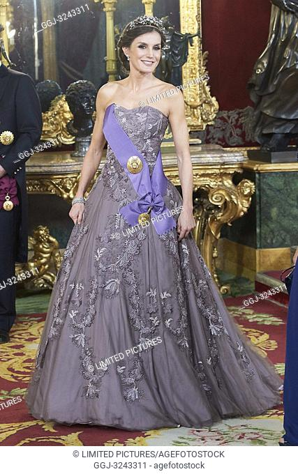Queen Letizia of Spain attends a gala Dinner honouring President of Peru and wife at Royal Palace on February 27, 2019 in Madrid, Spain