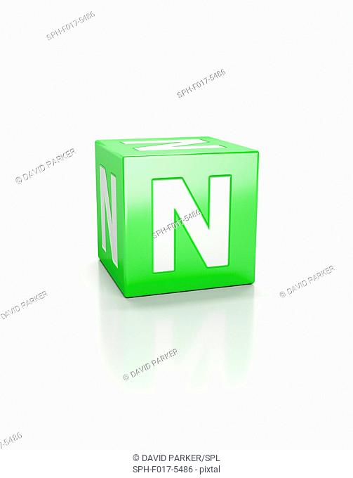 Green cube with letter N