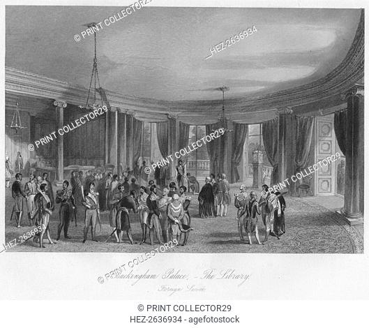 'Buckingham Palace, - The Library. Foreign LeveÚ', c1841. Artist: Henry Melville