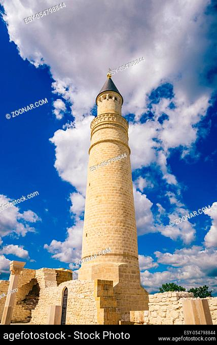 Big Minaret of Ruins of Cathedral Mosque. Bolghar, Russia