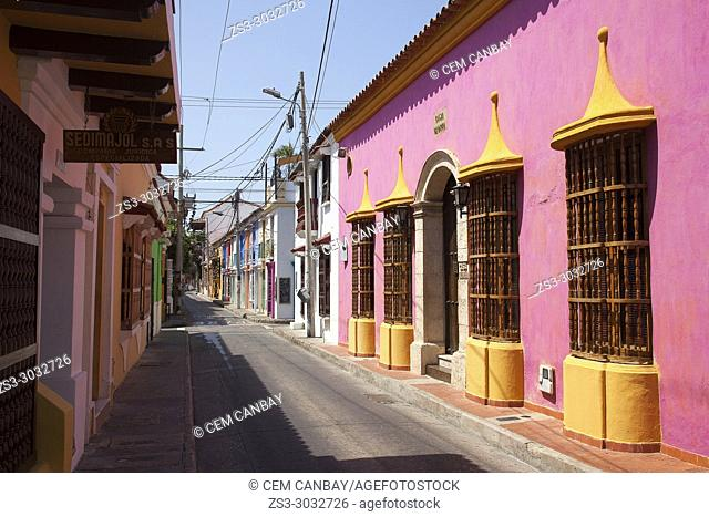 View to the colorful colonial buildings at the historic center, Cartagena de Indias, Bolivar, Colombia, South America