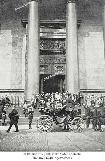 French President Emile Loubet (1838-1929) and Tsar Nicholas II (1868-1918) leaving Saints Peter and Paul Cathedral, Saint Petersburg, May 22, 1902, Russia