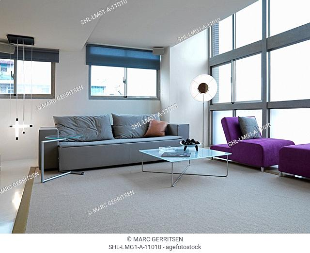Open living room with modern furnishings