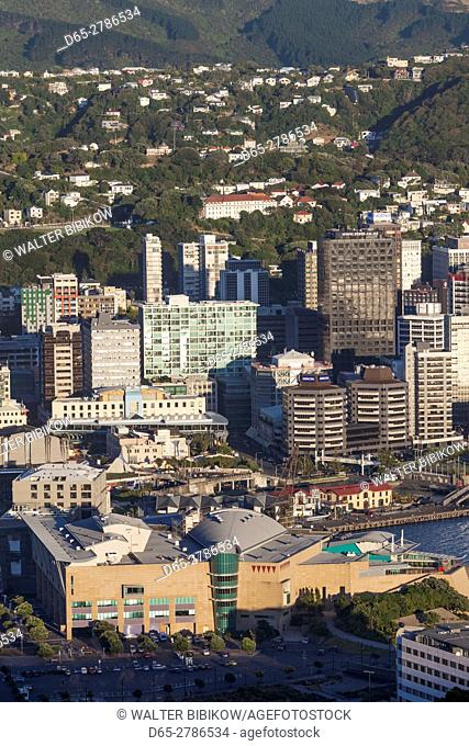 New Zealand, North Island, Wellington, elevated city skyline from Mt. Victoria, dawn