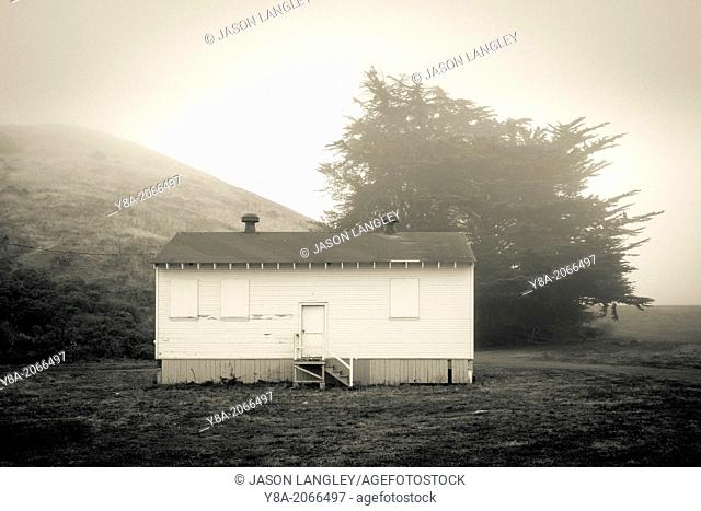 Empty military cabin, Golden Gate National Recreation Area, Sausalito, California, United States