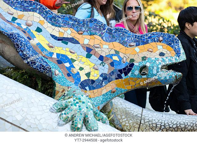 Mosaic lizard sculpture by Gaudi, Guell Park, Barcelona, Catalonia, Spain